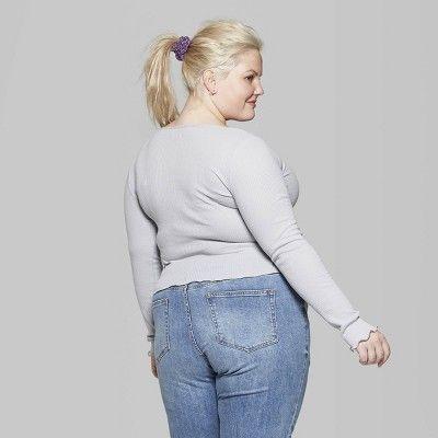 "1dd3ba5888d9d Women s Plus Size Long Sleeve Scoop Neck Pointelle T-Shirt - Wild Fableâ"""