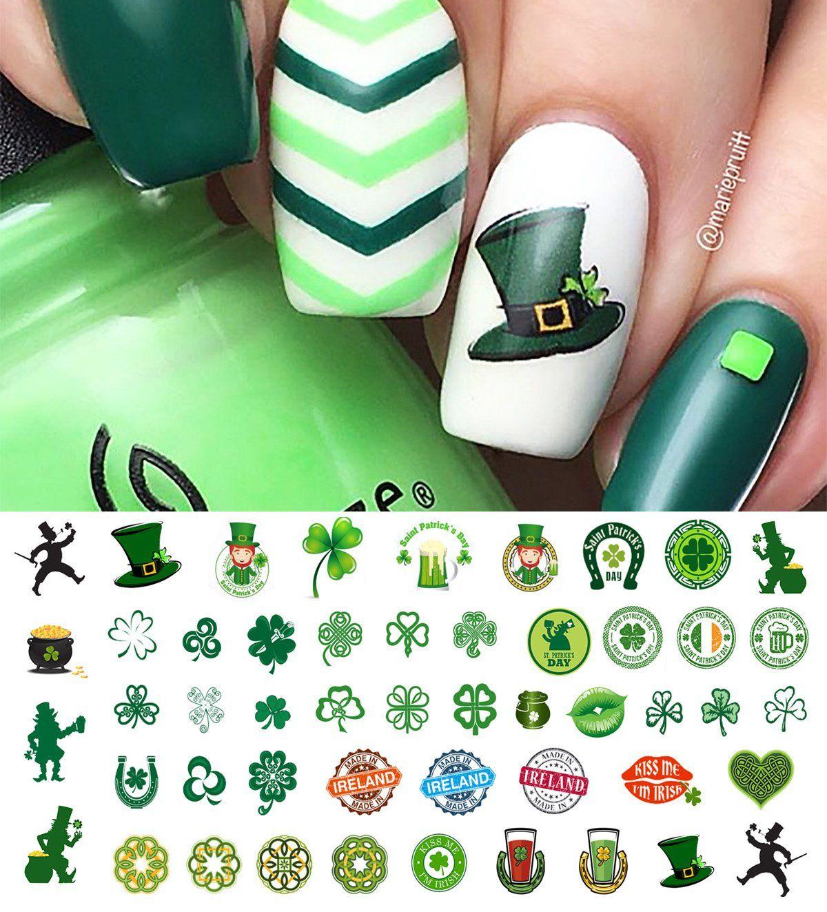 St. Patrick\'s Day Nail Art Decals #2 | Irish nails, Nail decals and ...