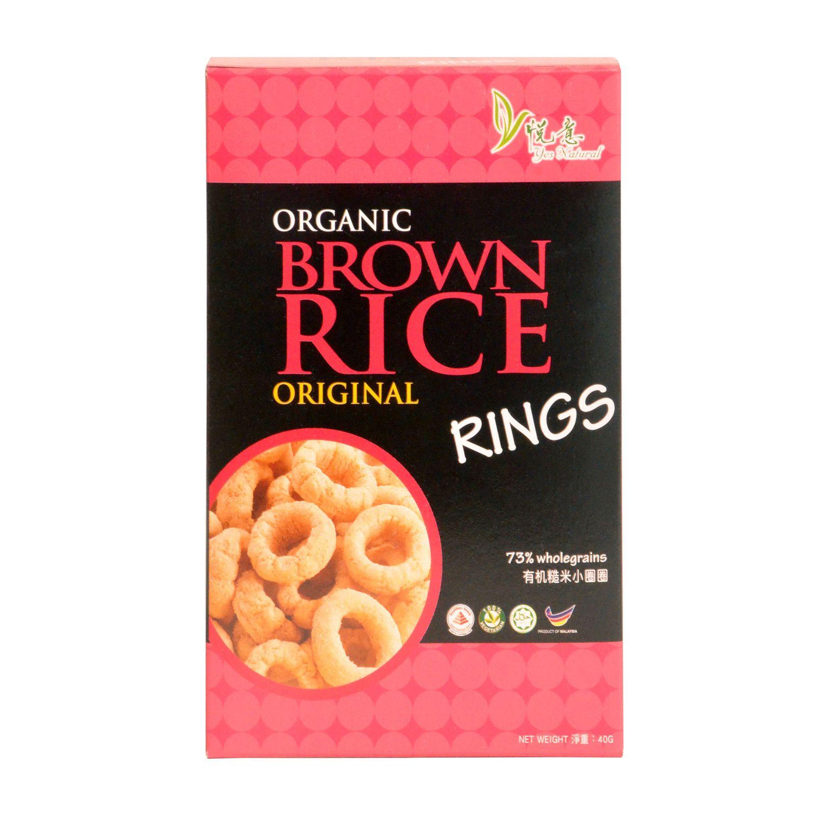 Yes Natural Organic Brown Rice Ring Original 40g Fairprice Singapore Organic Brown Rice Gluten Free Dairy Free Brown Rice
