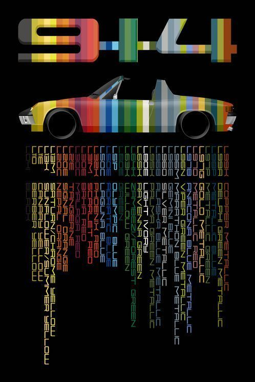 Porsche 914 In Factory Colors And Codes Full Color Giclee Porsche 914 Vintage Porsche Porsche