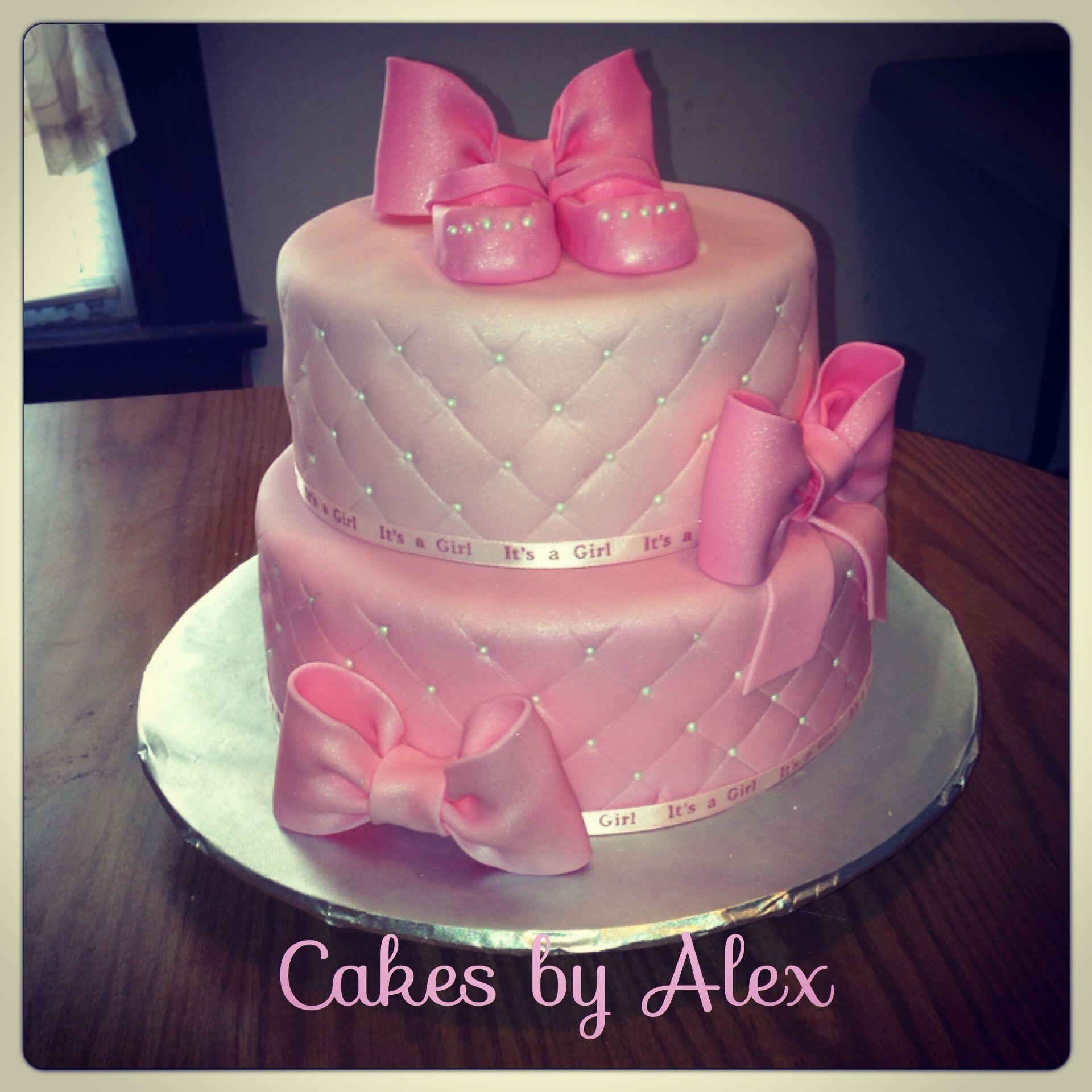 Pink glitter baby shower girl cake Baby Shower Cakes