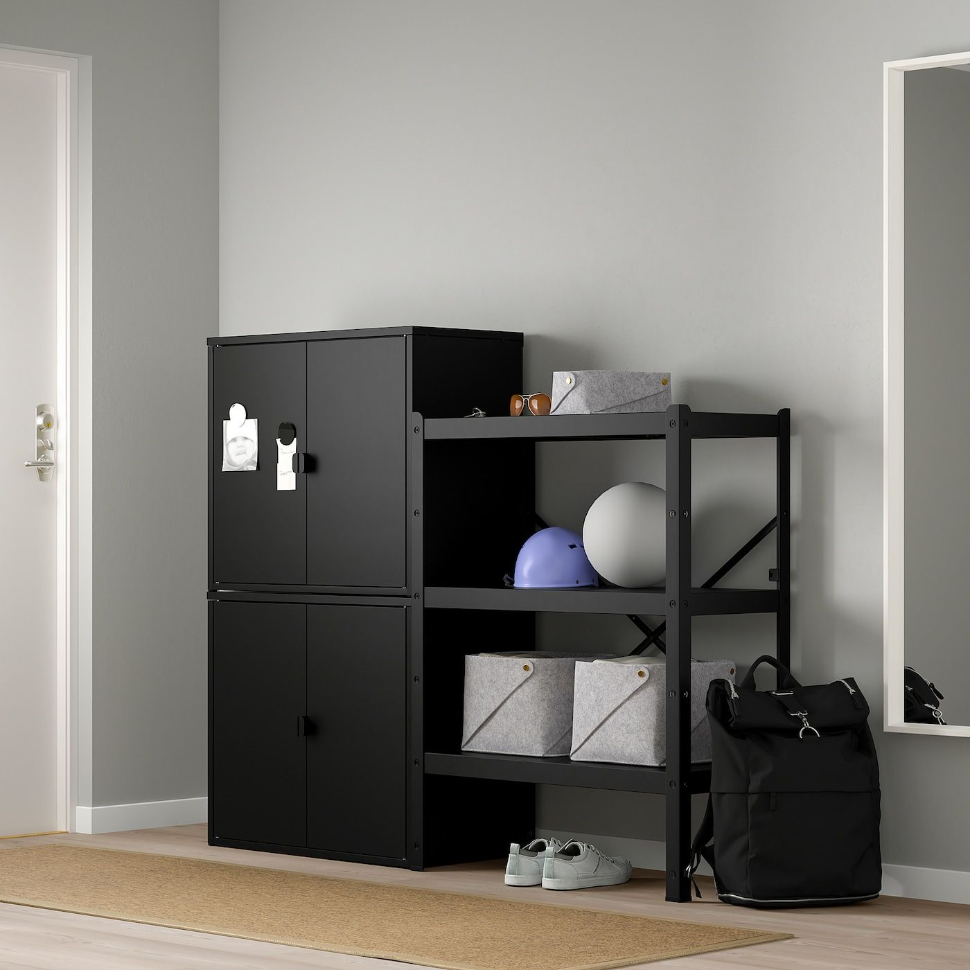 Ikea Bror Shelving Unit With Cabinets In 2020 Ikea Hochbett Mit