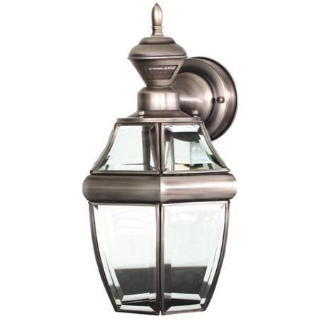 Motion Sensor 14 1 2 High Antique Silver Outdoor Wall Light 35883 Lampsplus