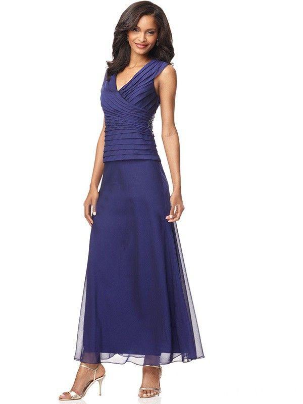 A-Line/Princess V-neck Sleeveless Pleats Ankle-Length Chiffon Mother of the Bride Dresses