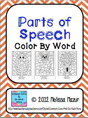 Parts of speech color by word   Seasonal Speech Ideas   Pinterest ...