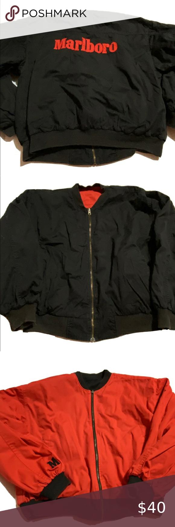 Vintage Marlboro Reversible Jacket In 2020 Reversible Jackets Jackets Marlboro Jacket