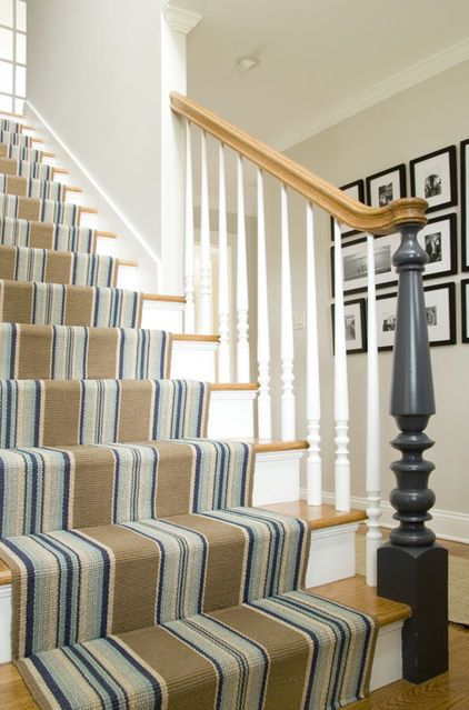Our Blue Heron Stripe Rug Traditional Staircase By Judy Cook