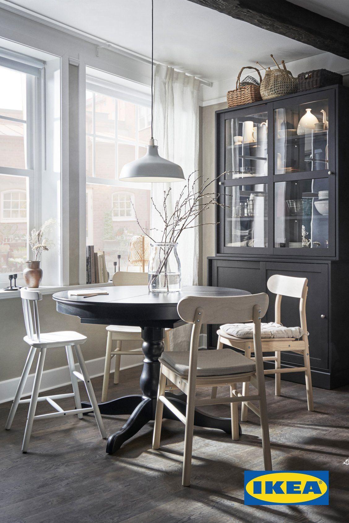 Ingatorp Extendable Table Black 431 4 61 110 155 Cm Ikea Ikea Catalog Round Dining Table Home