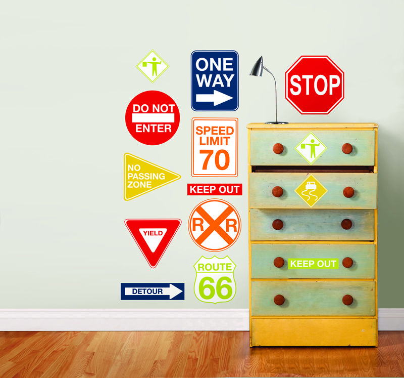 Wallpops Road Signs Wall Decals Great For A S Or Boys Room Fun In Playroom Decor These Include All Of The Clics Like Route 66 Stop