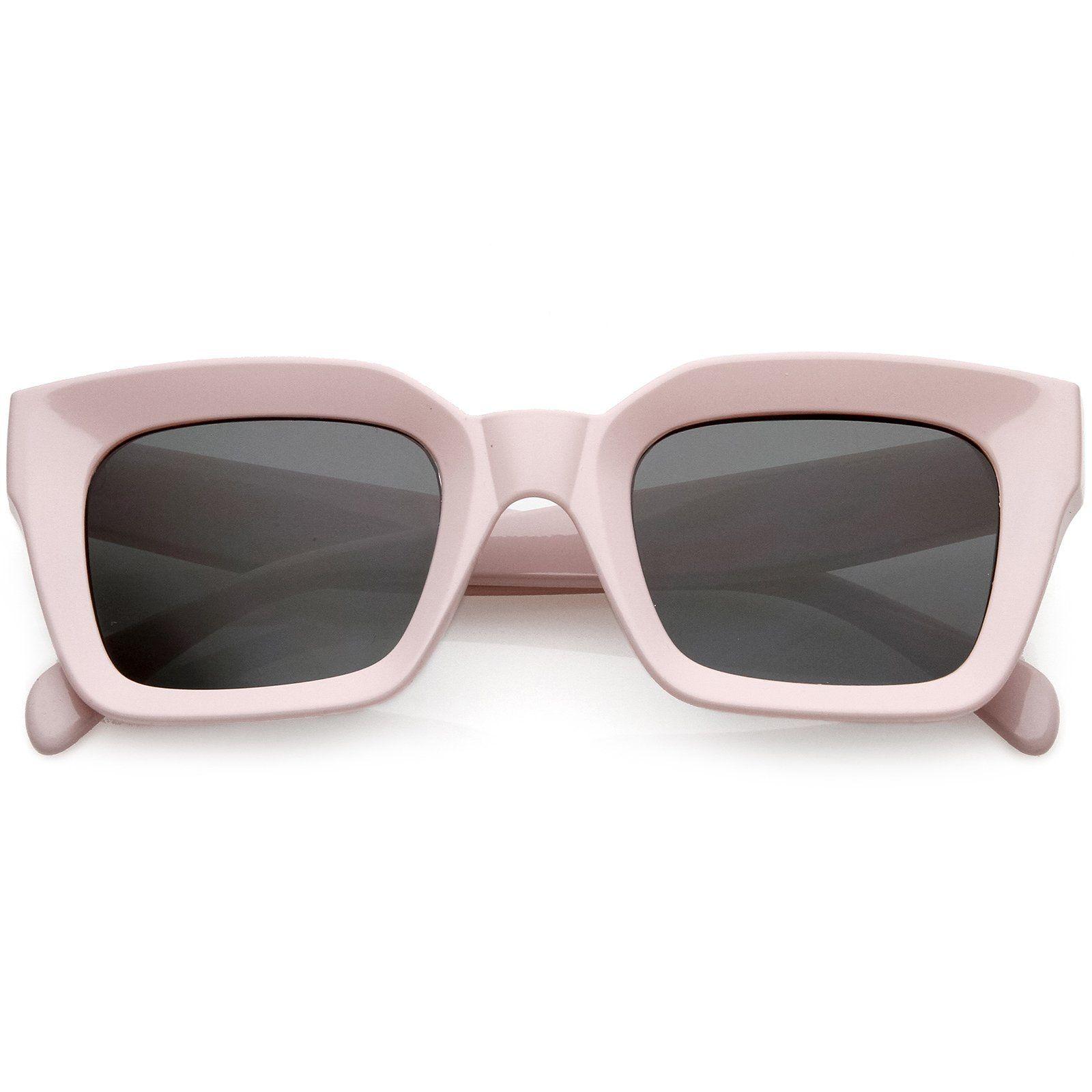 1669b1e97 Chunky Retro Square Sunglasses Neutral Colored Flat Lens 48mm #bold # sunglasses #frame #sunglass #oversized #purple #summer #mirrored #cateye  #sunglassla