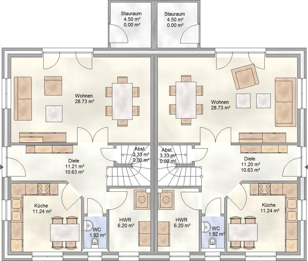 Duo 113 doppelhaus mit je 113 qm wohnfl che grundriss for Grundriss einfamilienhaus 100 qm