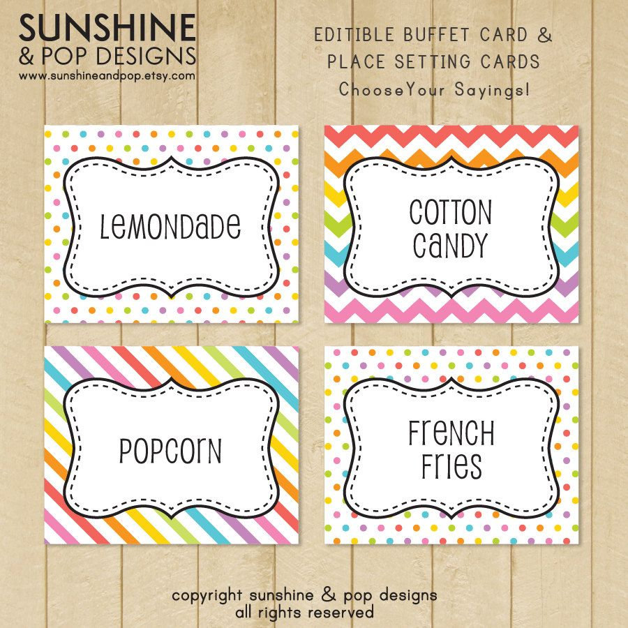 EDITABLE Rainbow Art Party Buffet Card