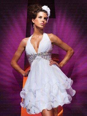 Sheath/Column Strapless Short/Mini Chiffon Backless White Cocktail Dress with Beading LVPD80937