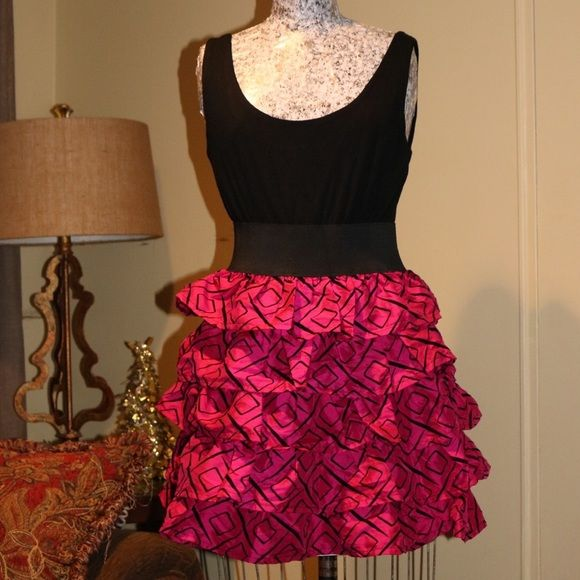 Pink and Black Pattern Dress Ruffles pink and black pattern dress Rachel and Chloe Dresses