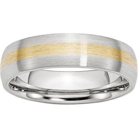Jewelry & Watches 2019 New Style Titanium Ridged Edge 14k Yellow Inlay 8 Mm Brushed Polished Wedding Band