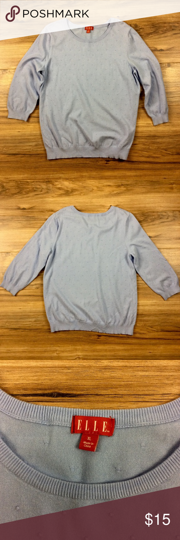 ELLE Top ELLE light blue cute polka dot top. 100% cotton. Light sweater material. Great condition. ELLE Sweaters Crew & Scoop Necks
