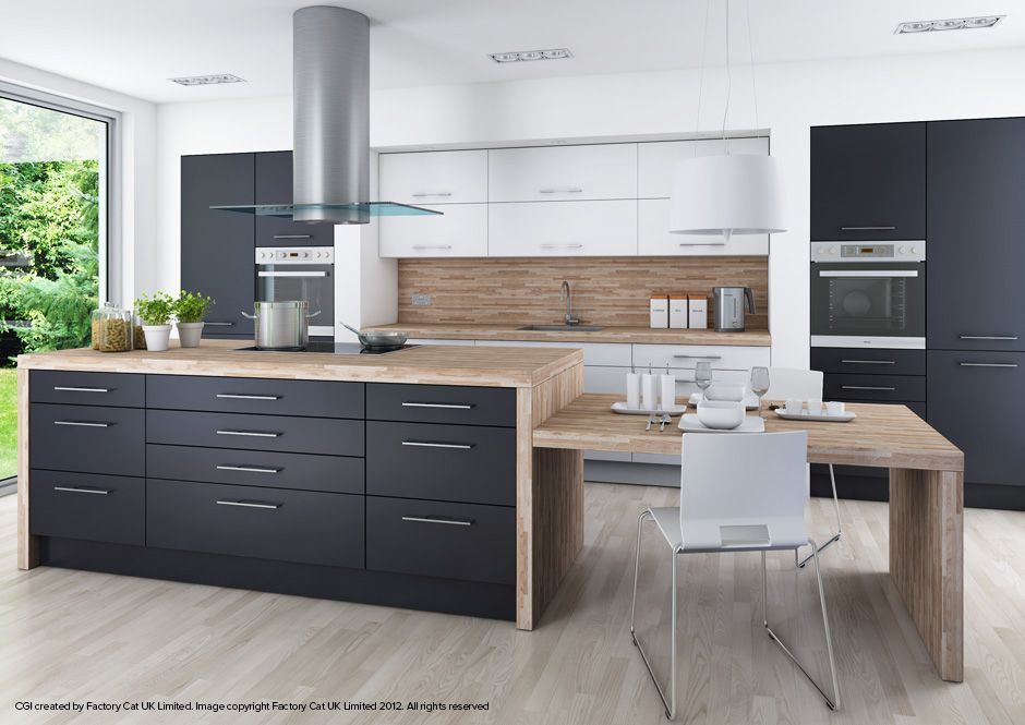 Cool scheme for creative wko nuova graphite dark grey for Grey and brown kitchen