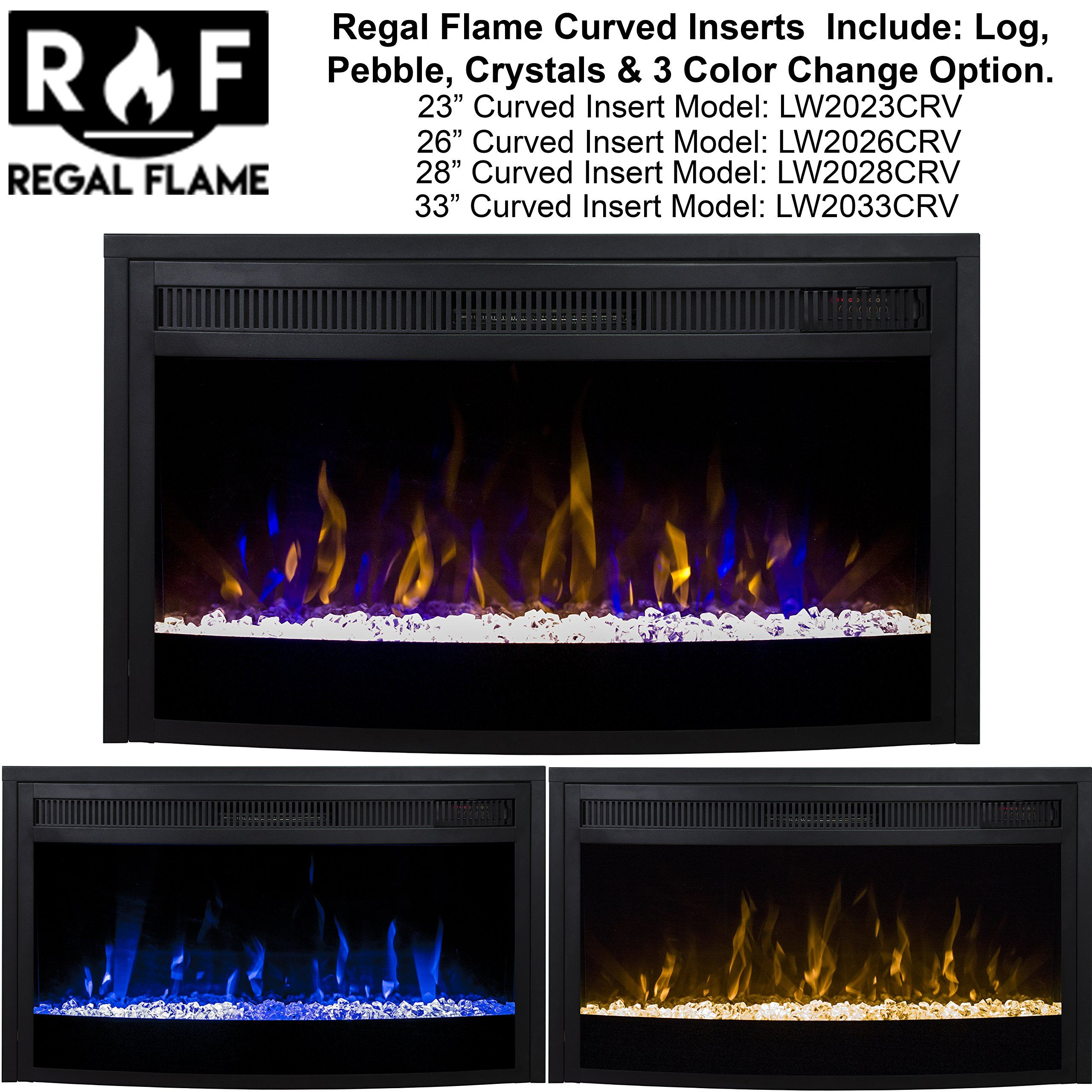 Regal Flame 23 Curved Ventless Heater Electric Fireplace Insert