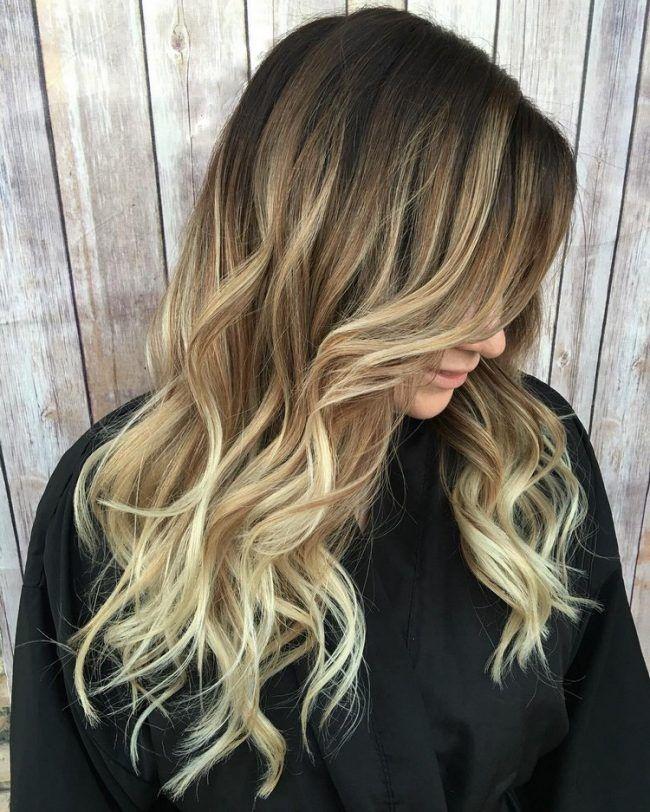 Ombre Blond Braun Spitzen Lange Haare Locken Hair In 2019