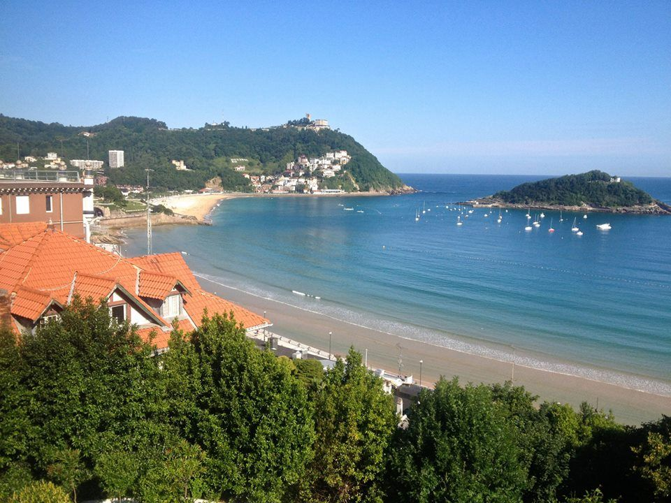 Grateful to walk up to this scenery at the beautiful Far Out Inn! Mont Igeldo and Ondarreta beach. Watch boats sail around San Sebastain.  Summertime, the whole vila is available. Just ask, http://faroutinn.com/reservations/