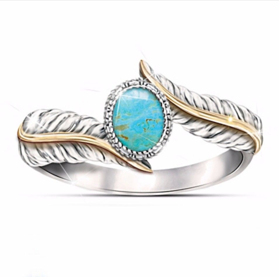 Most Jewellery Good Seller Gift for Anniversary Most Rings Real Gemstones Round cabochon Turquoise Ring 925 Silver Blue Turquoise Real Gemstones Ring