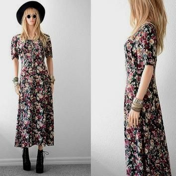 Floral rayon maxi dress