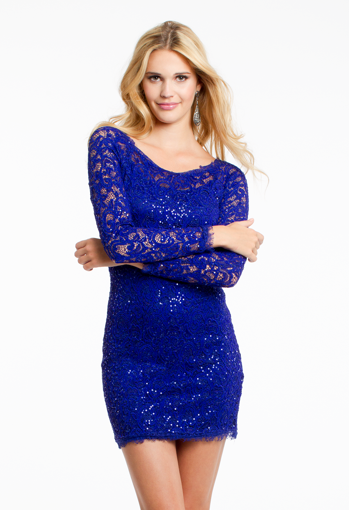 Long Sleeve Sequin Lace Dress #camillelavie | PARTY HARDY | Pinterest