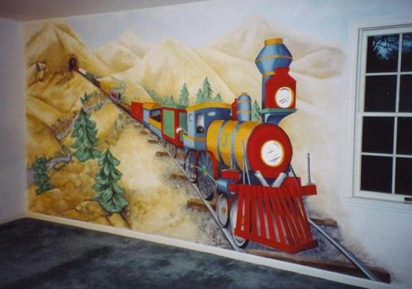Image detail for colorful train painting wall murals kids for Mural painting ideas