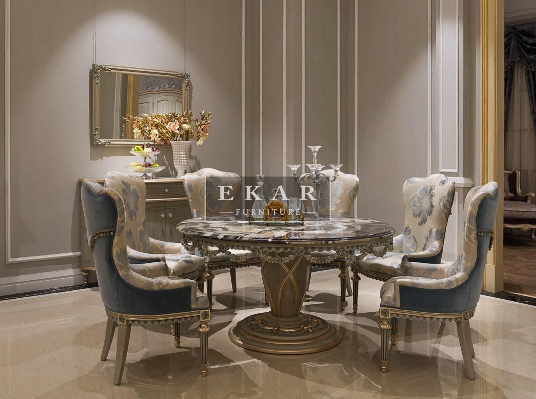 Ekar furniture round marble table dining table luxury for Luxury dining room furniture