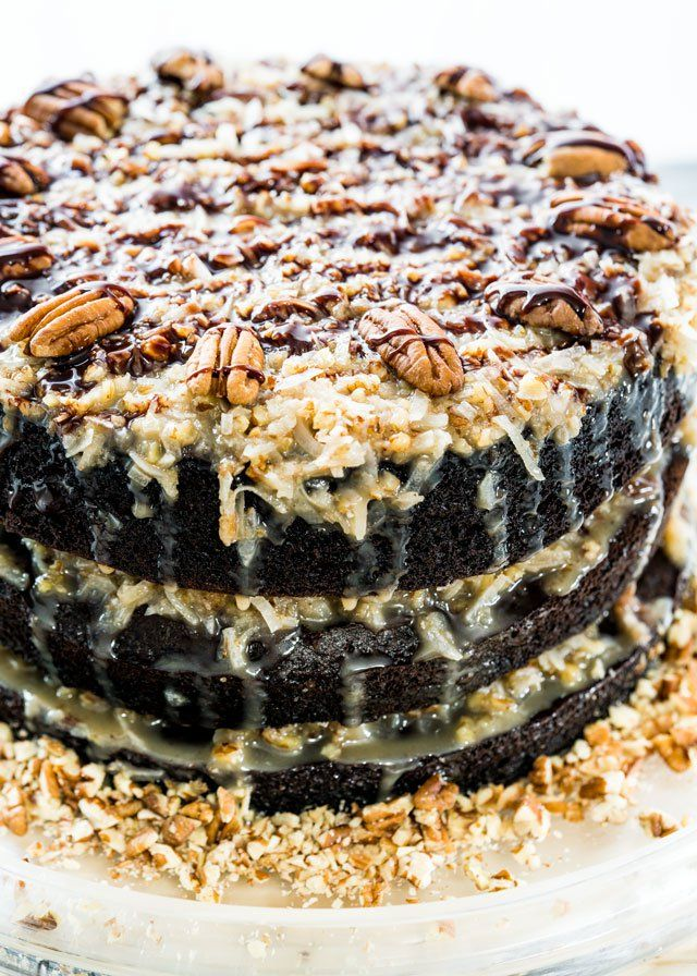A traditional homemade German Chocolate Cake with layers ...