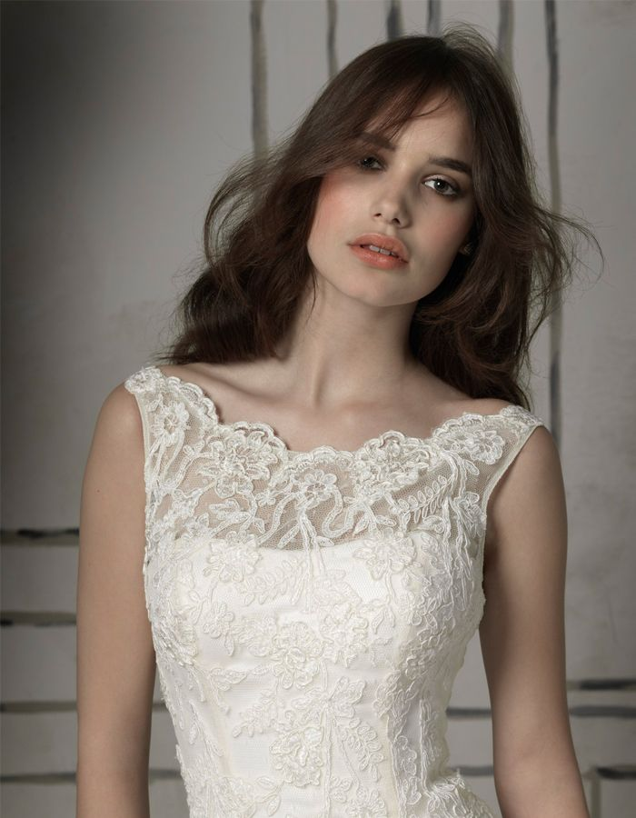 Beautiful Illusion Neckline Justin Alexander Wedding Dress Style 8530 Bride Lace