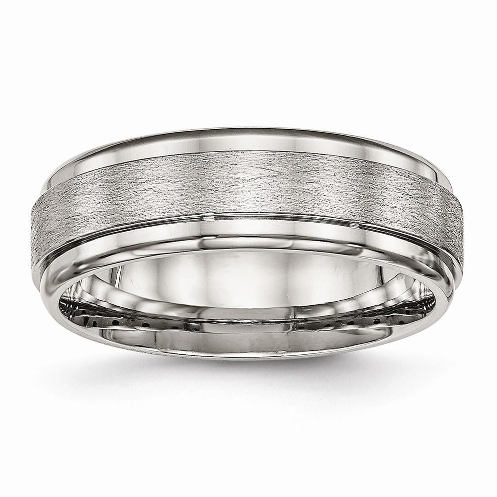 Stainless Steel Brushed and Polished Ridged Edge Ring 7 to