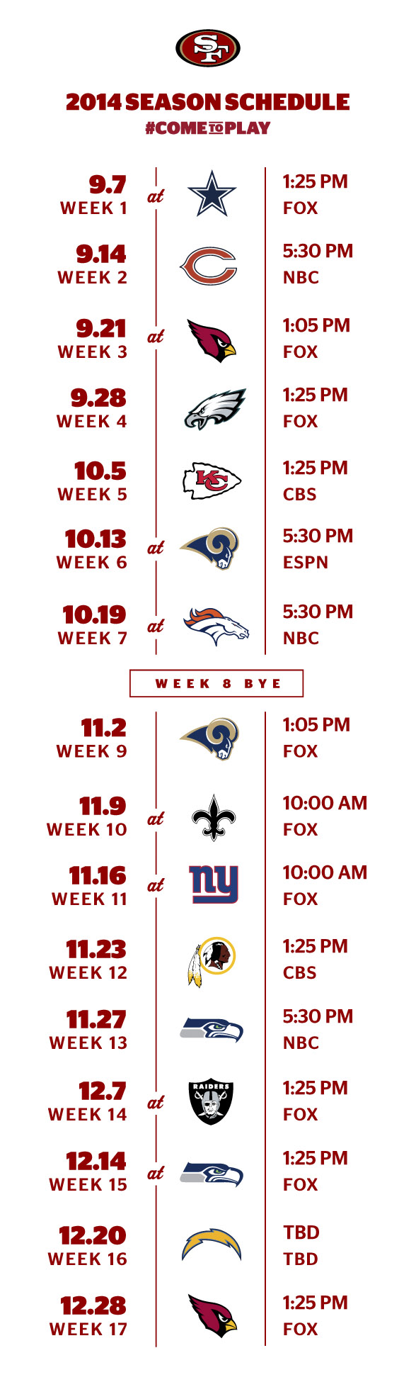 cb8d4c4b San Francisco 49ers 2014 Schedule Released-Yeah Baby!!!❤️❤️ | <3 ...