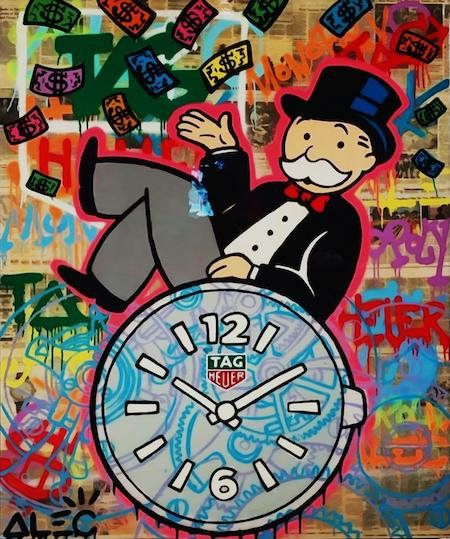 7f4dfb0eb47 Alec Monopoly Oil Painting on Canvas Graffiti art wall decor Tag Heuer Clock