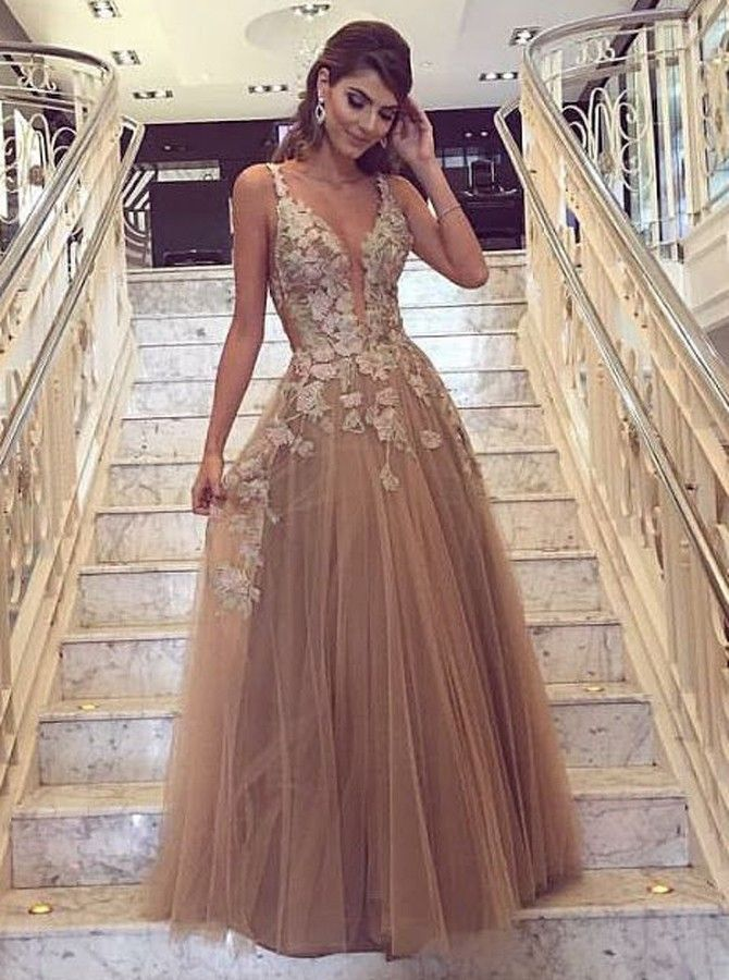 Fashion Champagne Abendkleider Lang Spitze Tülle A line Abiballkleider Günstig Modellnummer: YY094 #eveningdresses