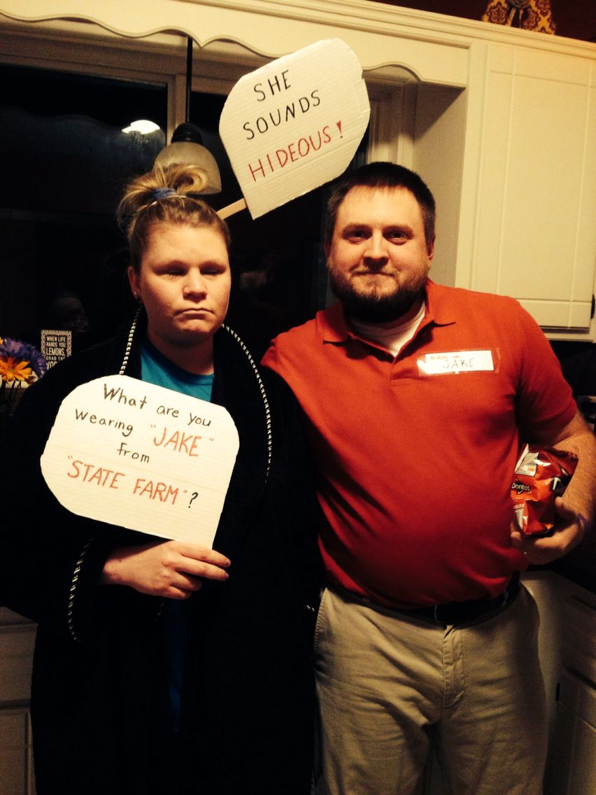 Our Award Winning Costumes Jake From State Farm And Wife Jake From State Farm Couples Costumes Couple Halloween Costumes