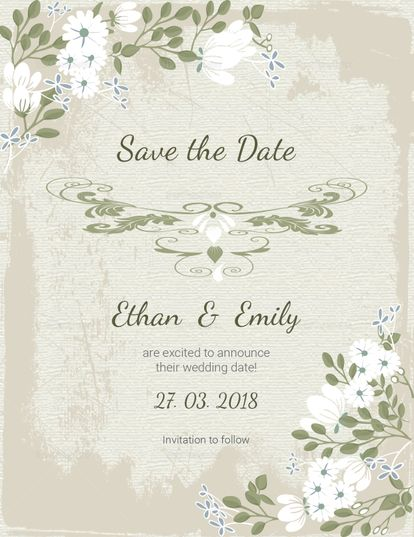 Vintage Save The Date Card Template Wedding Invitation Templates