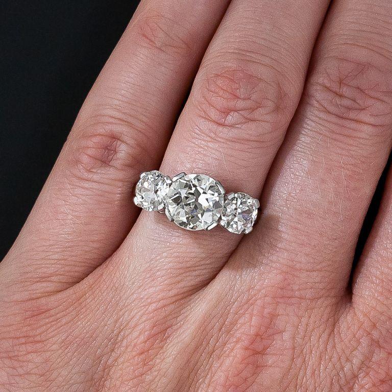 4 35 Carat Total Weight Vintage Diamond Three Stone Ring Image 6 Vintage Engagement Rings Diamond Engagement Rings Vintage Diamond Engagement Rings