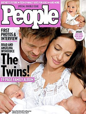ff8f4fc67a Angelina Jolie and Brad Pitt twins Knox Léon and Vivienne Marcheline on  People magazine cover by HOLLYWOOD KIDS