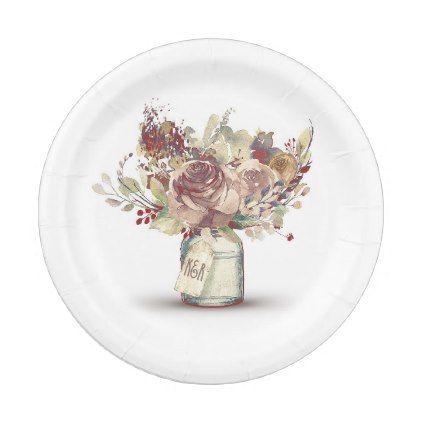 Vintage Rustic Floral Mason Jar Wedding Paper Plate - fall decor diy ...