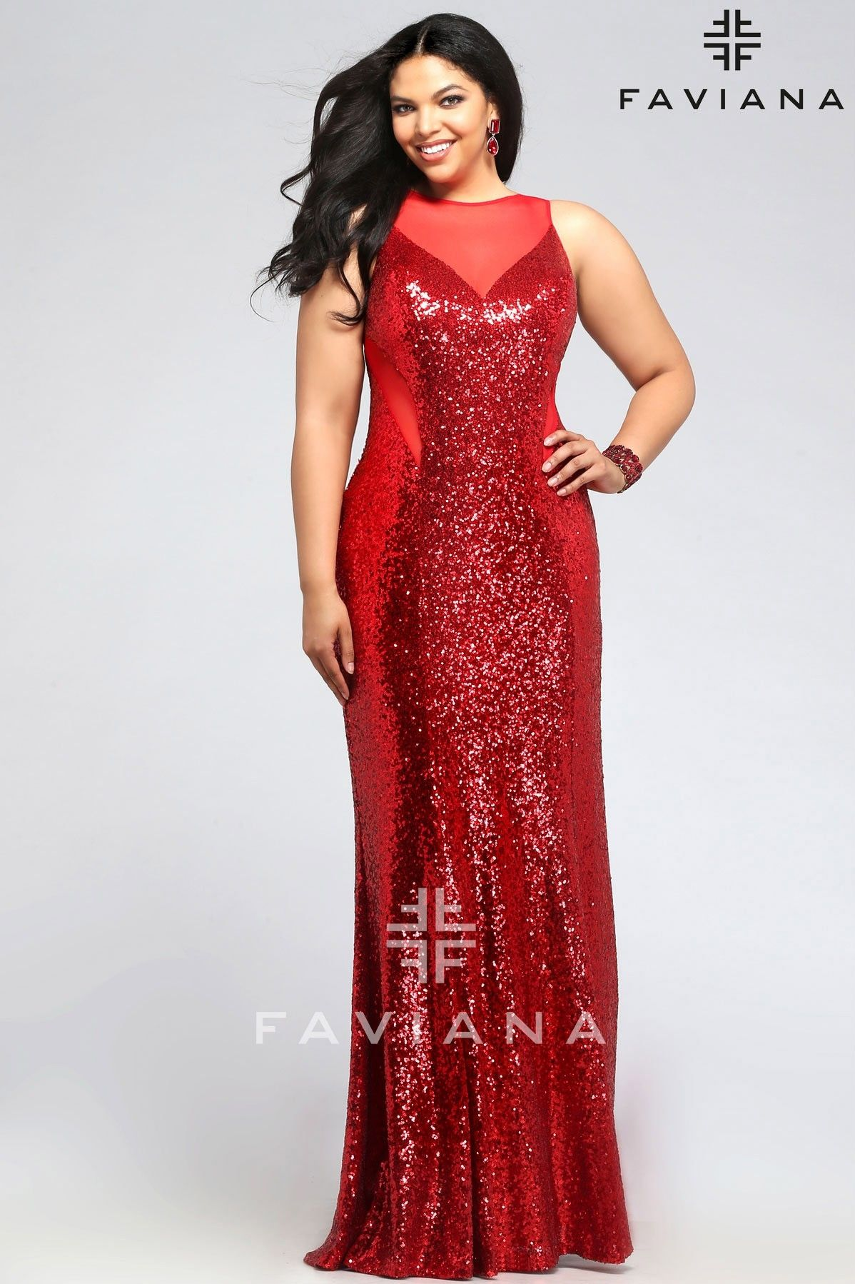 Faviana 9357 Red Sequins Faviana Curve Full Figure Plus Size Prom ...