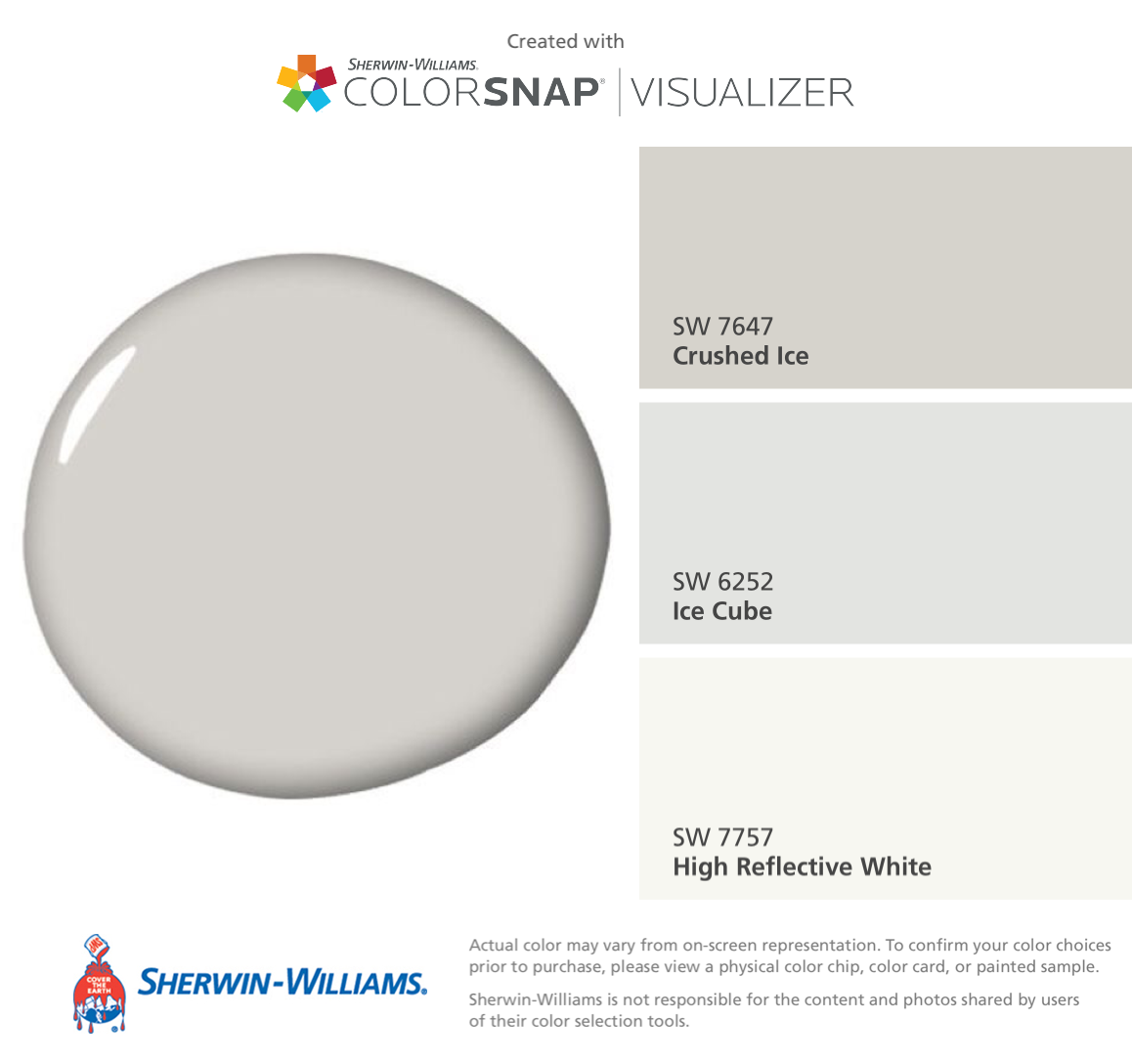 I Found These Colors With Colorsnap Visualizer For Iphone By Sherwin Williams Crushed Ice Sw 7647 Cube 6252 High Reflective White 7757