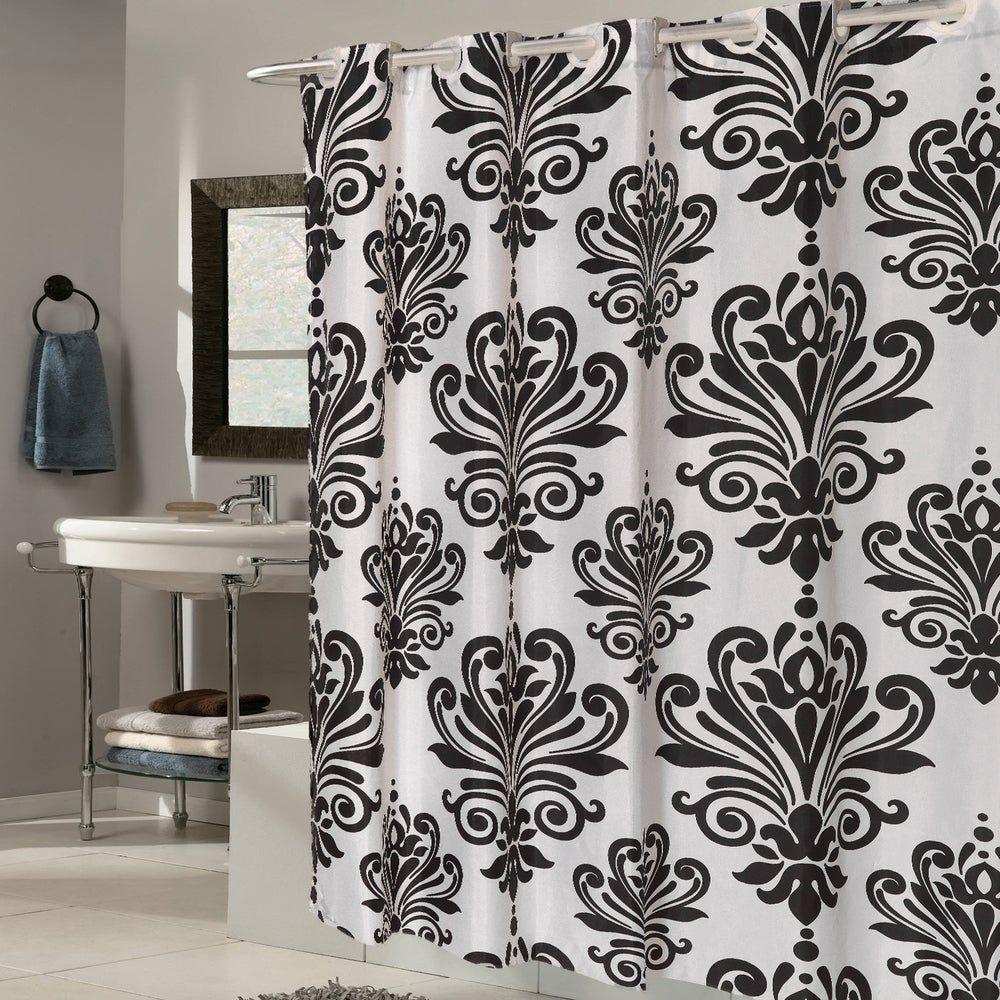 Ez On Fleur De Lis Fabric Shower Curtain Liner With Built In