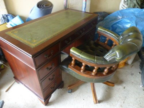Chesterfield Desk And Captains Chair Man Room New