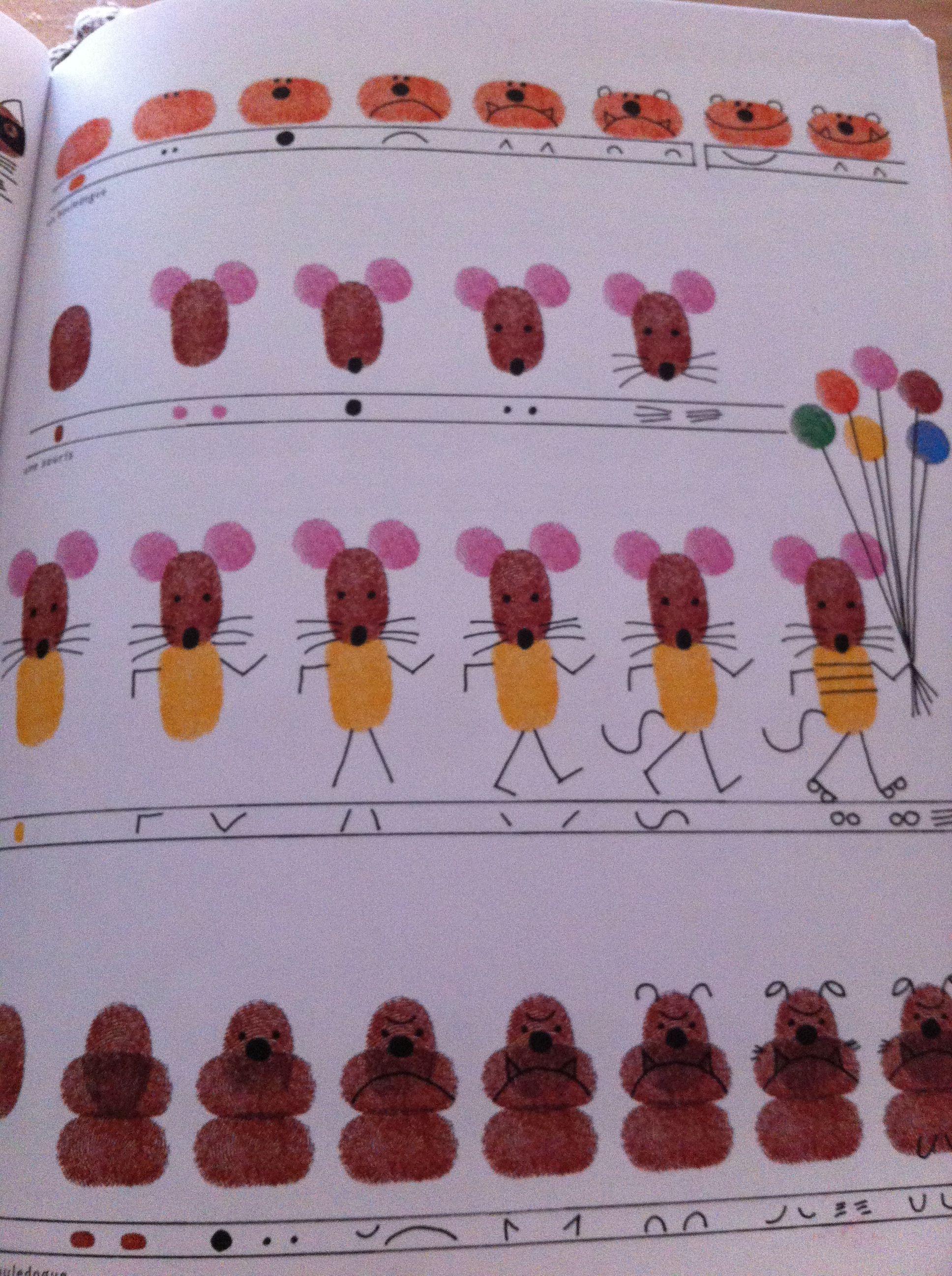 Petites souris rigolotes avec peinture doigts souris activities for kids art et diy - Dessin chouette rigolote ...