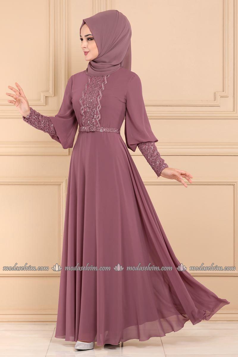 Moda Selvim Balon Kollu Tesettur Abiye 7357eh211 Gul Kurusu Elbiseler Pembe Dantel Elbiseler Sirin Elbiseler