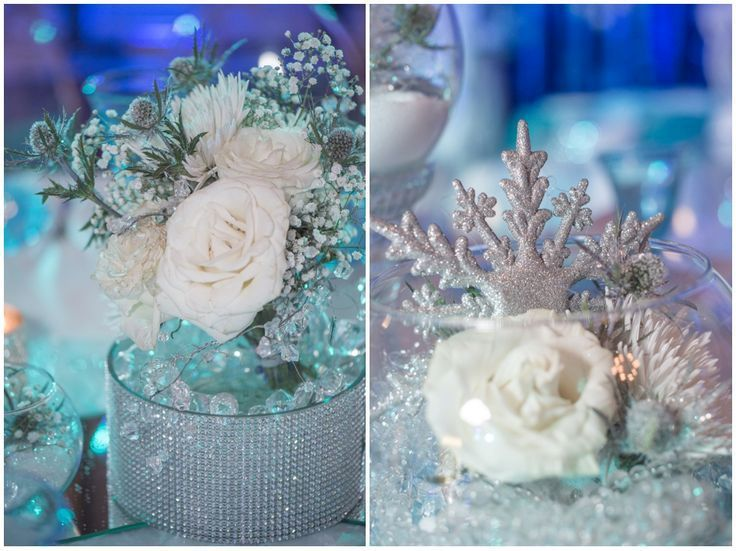 Glittery rose and jewel centerpieces for a winter themed for Winter themed wedding centerpieces