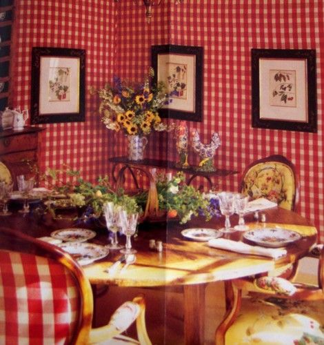 Pale Yellow Country Kitchen: Red And White Check, French Country Breakfast Room. Yellow