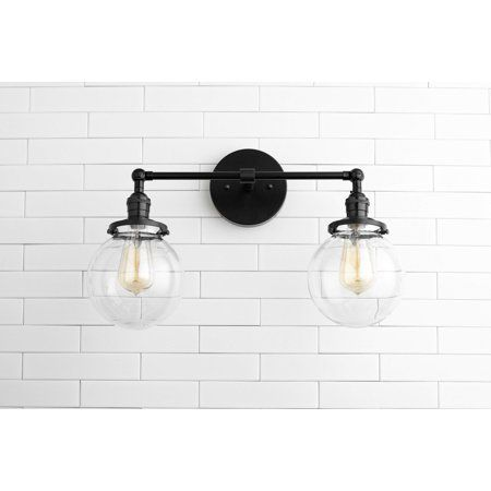 Photo of Clear Globe Vanity Black Light Fixture Two Bulb Bathroom Sconce – Walmart.com