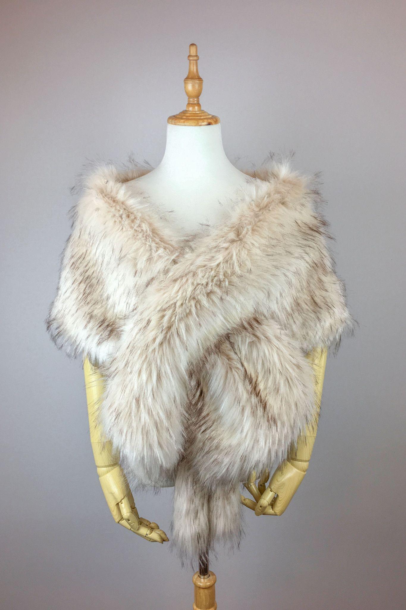 9180741e1 Pink Blush / Light Brown Wedding Bridal Faux Fur Stole Wrap Shawl Cape